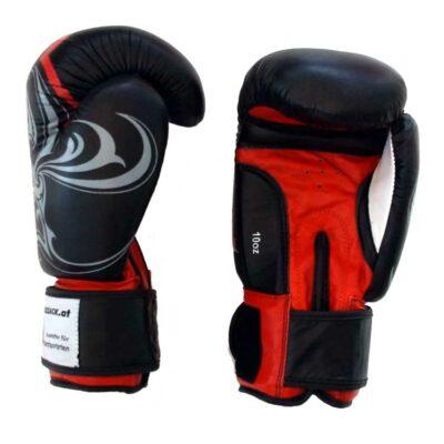 Boxhandschuhe Thai Style Schwarz widerstandsfähiges Rindsleder Typ b