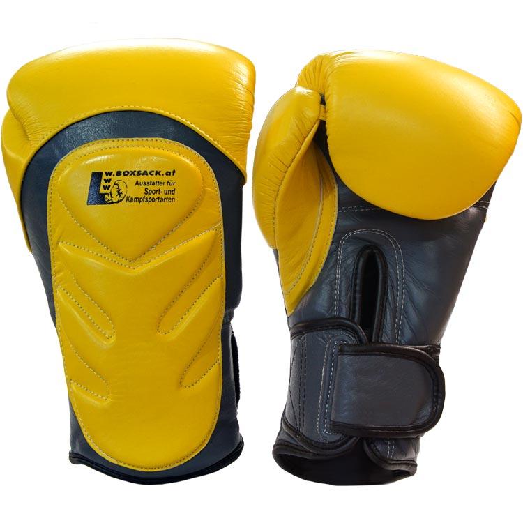 Boxhandschuhe SNAKE aus Rindsleder Farbe Gelb Grau Bild a