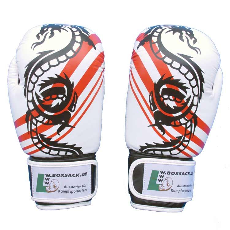 Boxhandschuhe Thai Style Schwarz Weiss widerstandsfähiges Rindsleder Typ b