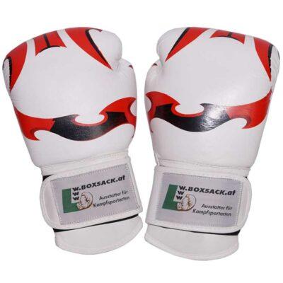 Boxhandschuhe FANTASY aus strapazierfähigem Rindsleder Farbe Weiss Rot Bild a