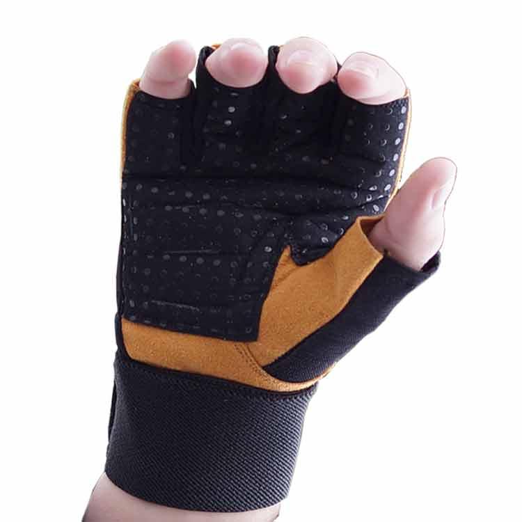 Gewichtherberhandschuhe Fitnesshandschuhe Leder Schwarz Braun Typ b