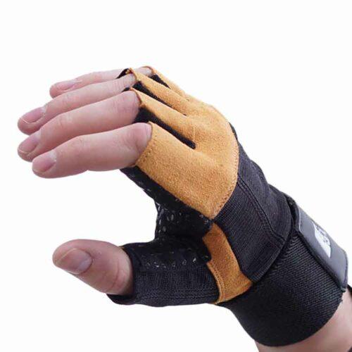 Gewichtherberhandschuhe Fitnesshandschuhe Leder Schwarz Braun Typ a