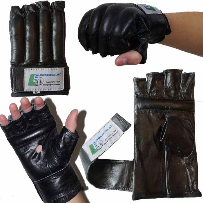 Sandsackhandschuhe Fight aus Rindsleder Fingerlos Typ d