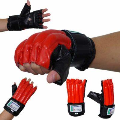 Sandsackhandschuhe Fight aus Rindsleder Fingerlos Schwarz Rot Typ b