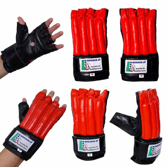 Sandsackhandschuhe Fight aus Rindsleder Fingerlos Schwarz Rot Typ c