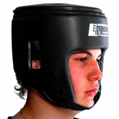 Kopfschutz aus Kunstleder in Schwarz mit Ohrschutz