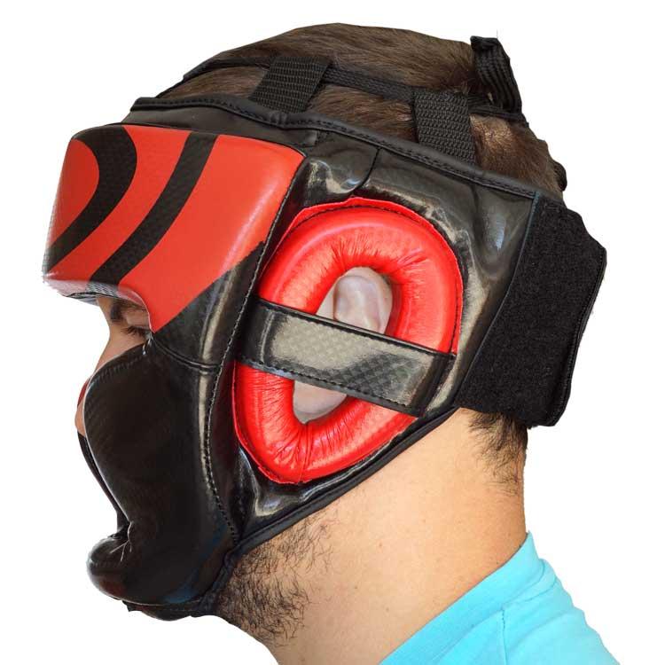Kopfschutz Kunstleder Schwarz Rot mit Kinn und Ohrenschutz a