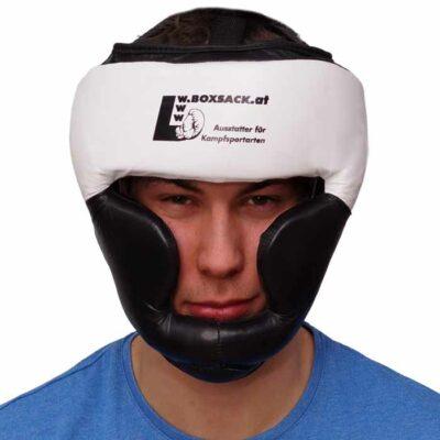 Kopfschutz aus Rinderleder Farbe Schwarz Weiß mit Kinn und Ohrenschutz b