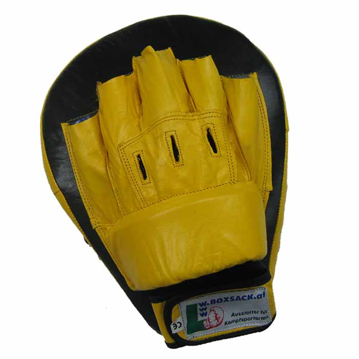 Pratzen Handpratzen gebogen aus Leder in der Farbe Gelb Schwarz Typ b