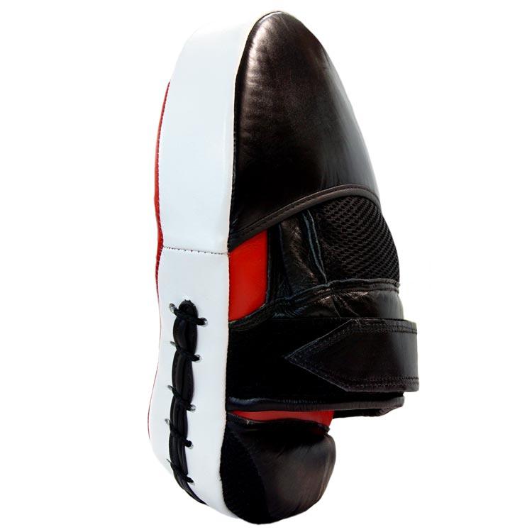 Pratze Handpratze Trainer gebogen aus Rindsleder mit Geleinlage Schwarz Rot Typ c