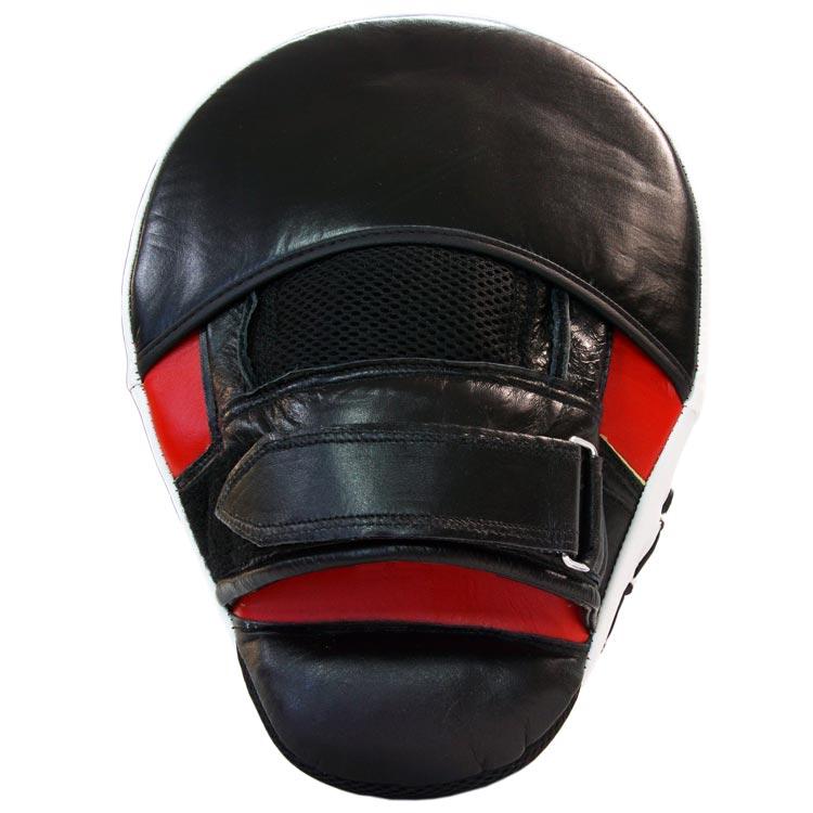 Pratze Handpratze Trainer gebogen aus Rindsleder mit Geleinlage Schwarz Rot Typ a