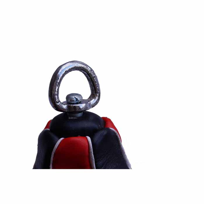 Boxbirne Speedball aus Rindsleder Rot Schwarz mit Drehwirbel aus Stahl Bild c