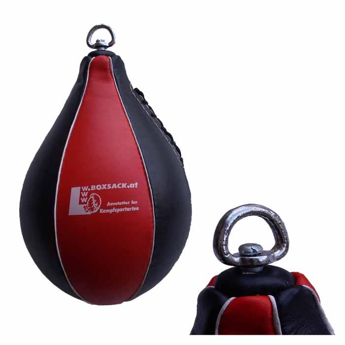 Boxbirne Speedball aus Rindsleder Rot Schwarz mit Drehwirbel aus Stahl Bild b