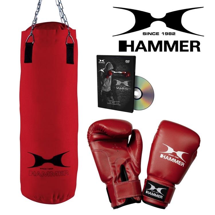 Boxsack Set HAMMER SPORT FIT mit Handschuhe und CD Typ d