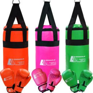 Kinder Boxsack Set mit Handschuhe in Neon Farben Grün Orange Typ a