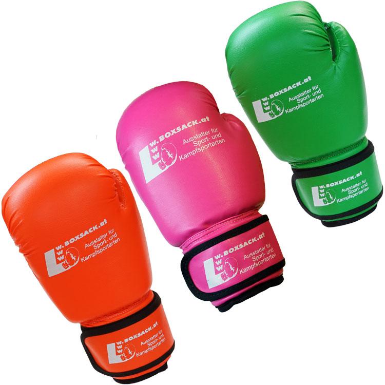 Kinder Boxsack Set mit Handschuhe in Neon Farben Grün Orange Typ c