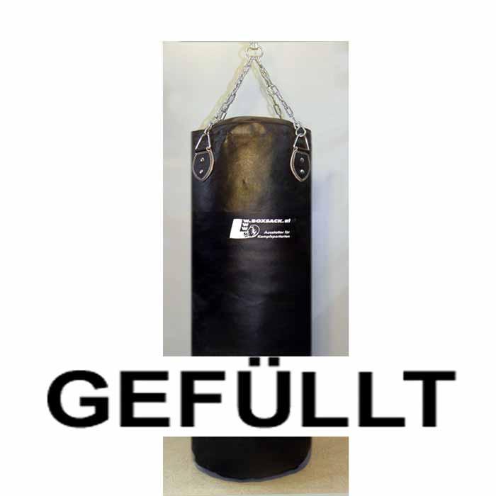 Boxsack aus Leder in verschiedenen Größen gefüllt und ungefüllt Typ f