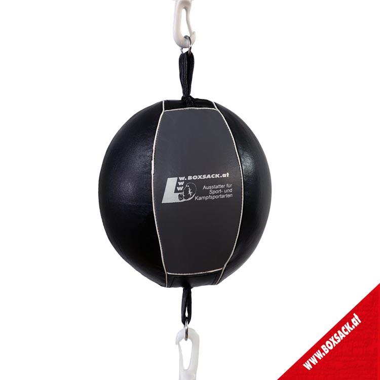 Doppelendball Leder Grau Schwarz mit Expander Abspannung Bild c