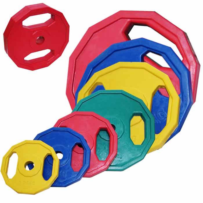 Hantelscheiben Hexagon aus Stahl mit Gummibeschichtung verschiedene Gewichte