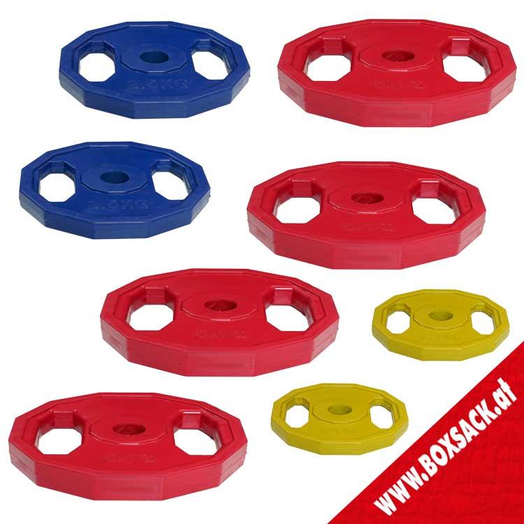 Gewichtsscheiben Hantelscheiben aus Stahl mit Gummiüberzug Set A