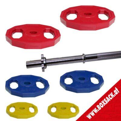 Gewichtsscheiben Hantelscheiben aus Stahl mit Gummiüberzug Set C