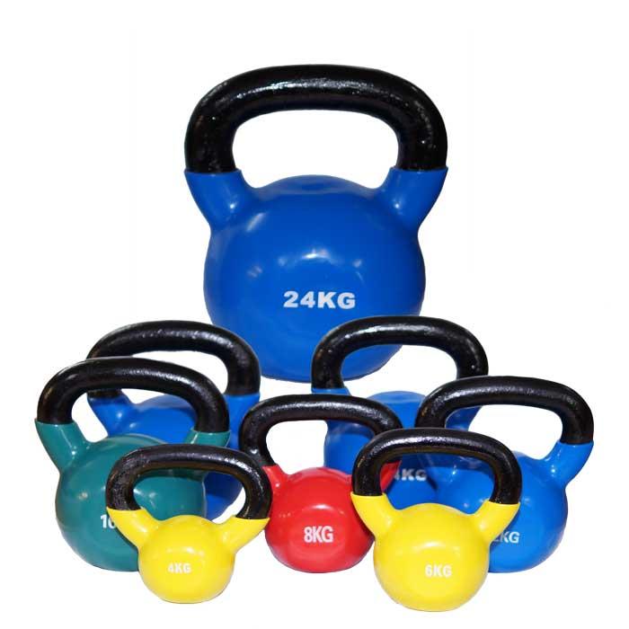 Kettlebell aus Stahl mit Gummibeschichtung verschiedene Farbe und Gewichte