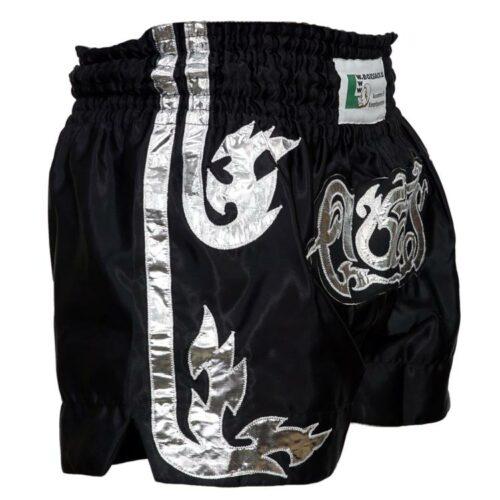 Muay Thai Short Black Tiger Farbe Schwarz Silber Typ A