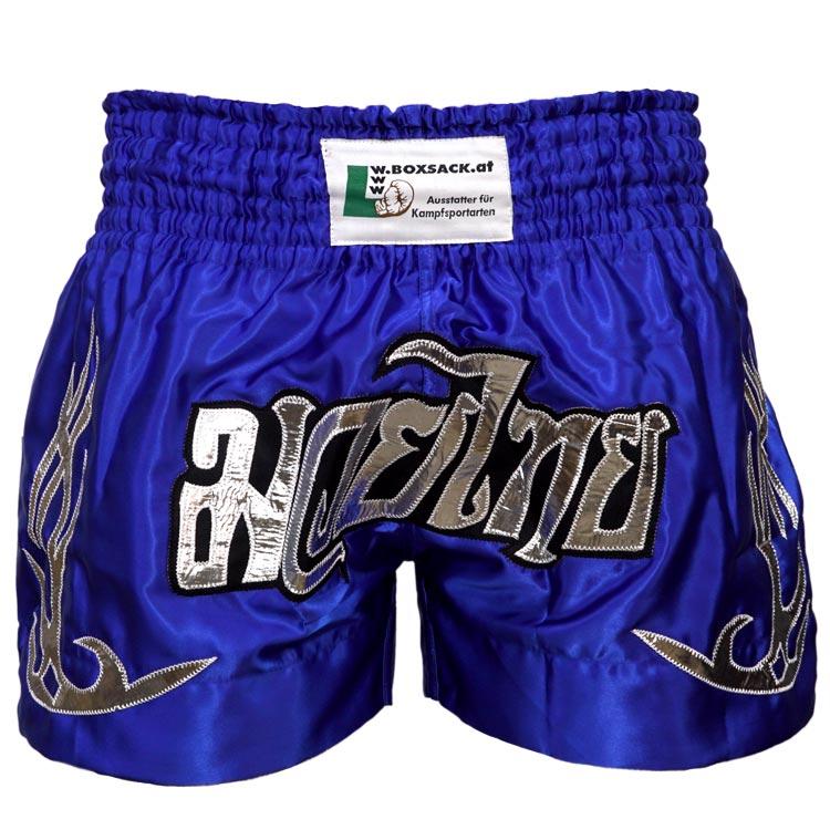 Muay Thai Short Champion Blau Silber Typ A