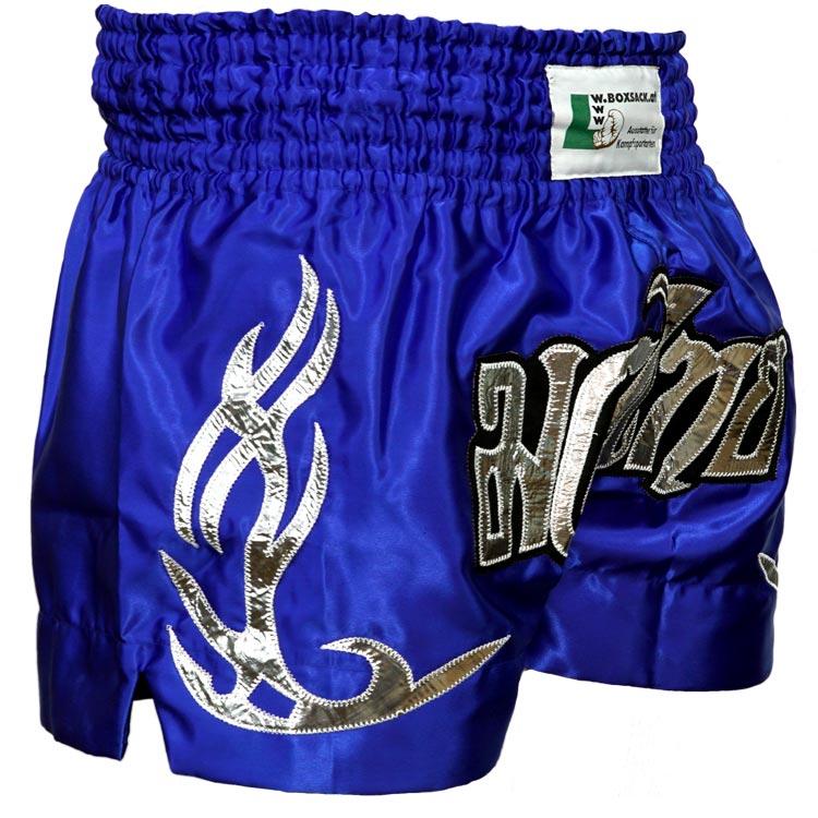 Muay Thai Short Champion Blau Silber Typ C