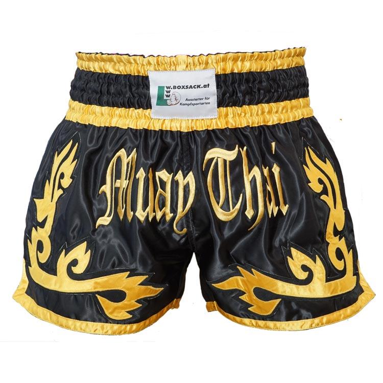 Muay Thai Short Panda Farbe Schwarz Gold Typ A
