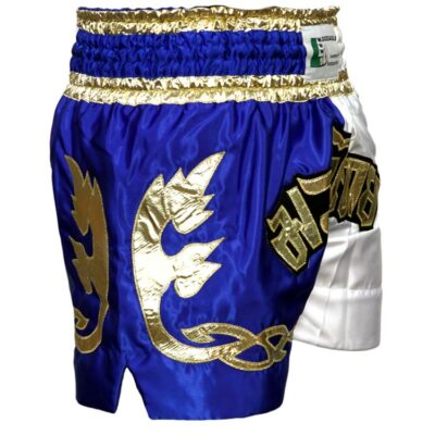 Muay Thai Short Runner Farbe Blau Weiss Gold Typ B