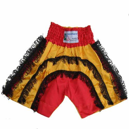 Muay Thai Hose Rot Gelb Schwarz mit Fransen