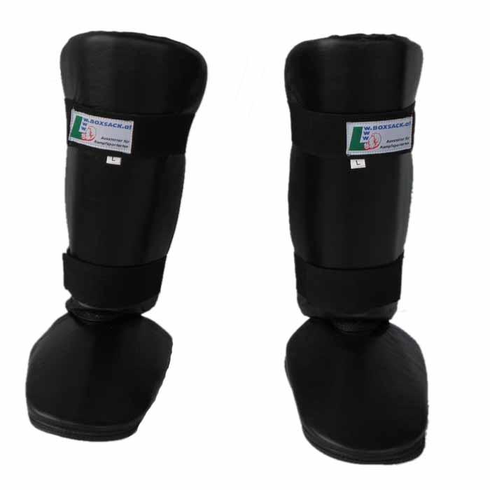 Schienbeinschoner Muay Thai aus Leder breite Ausführung Typ a