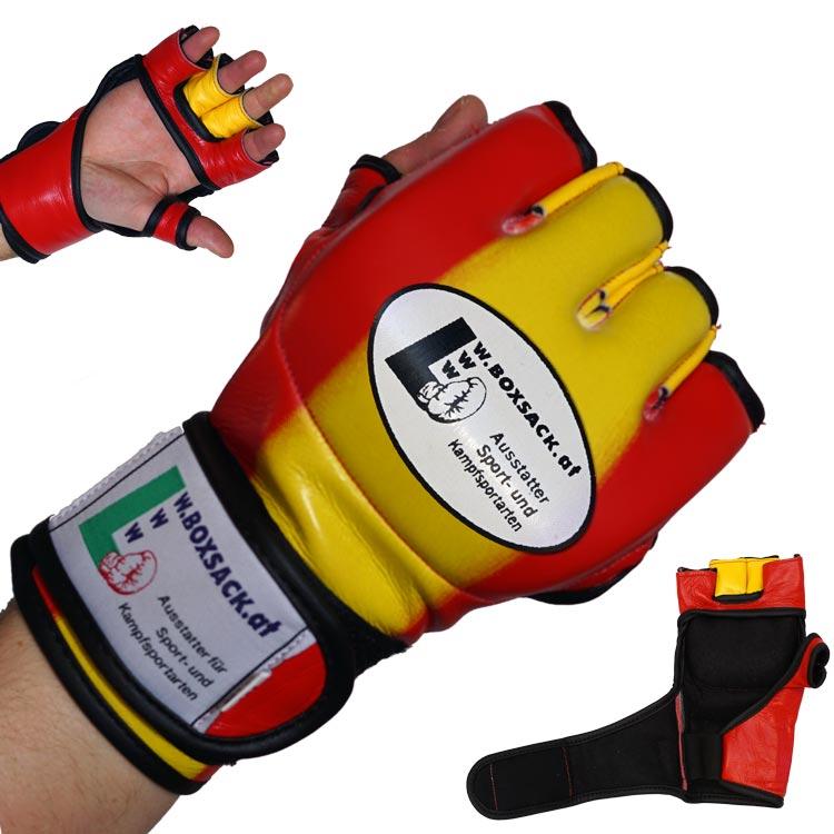 MMA Handschuhe Rot Gelb in verschiedenen Größen Bild a