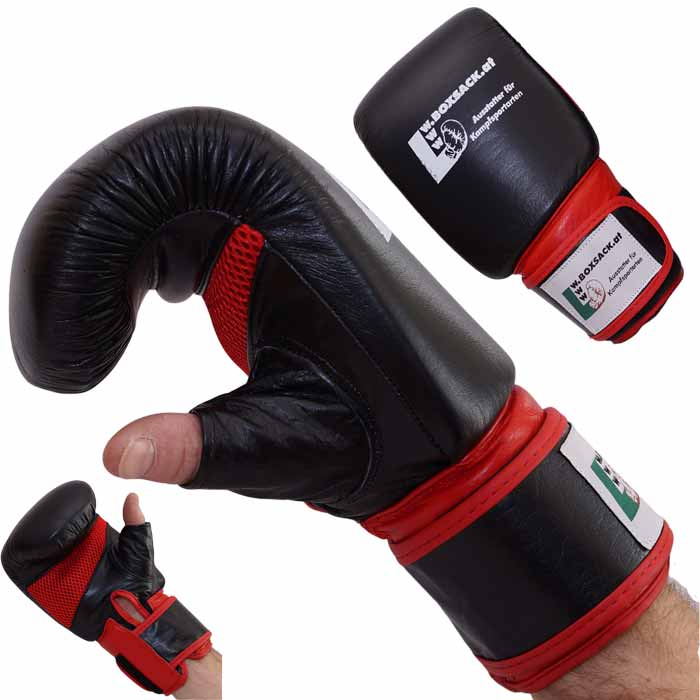 Sandsackhandschuhe PRO KICK aus Rindsleder Leder Rot Schwarz Typ a