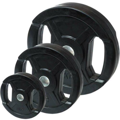 Hantelscheiben Gewichtsscheiben Stahl Gummi mit Metallring und Griffmulde b
