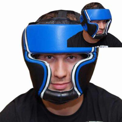 Kopfschutz Leder Blau Schwarz