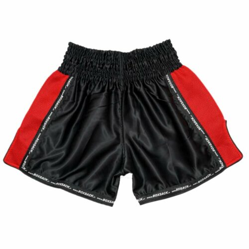 Muay Thai Short Mesh Style Black & Red Typ A