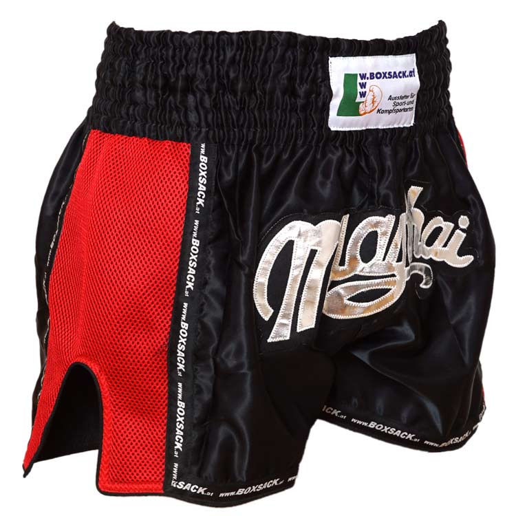 Muay Thai Short Mesh Style Black & Red Typ C