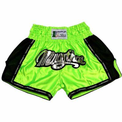 Muay Thai Short NEON GREEN Mesh Style Bild b