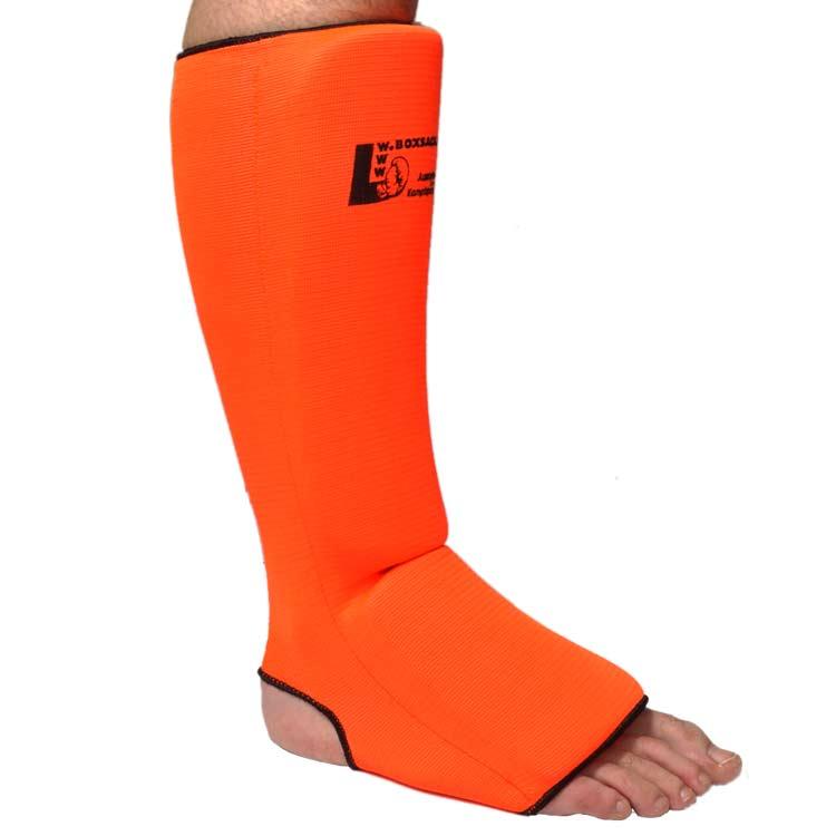 Schienbeinschoner Neon elastisch mit Ristschutz Farbe Neon Orange
