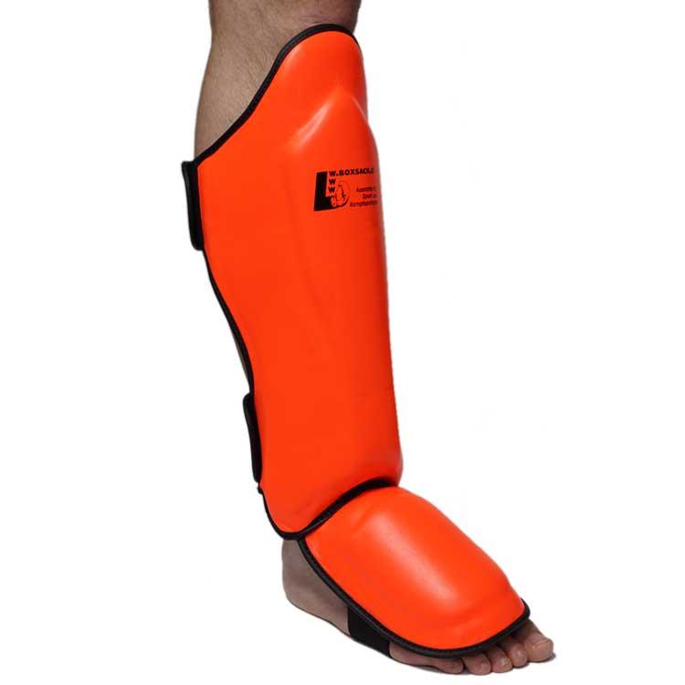 Schienbeinschoner Muay Thai Neon mit Ristschutz Farbe Neon Orange